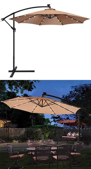 Brand New $80 each Round 10ft Offset Patio Hanging Umbrella with Solar LED Lights w/ Cross Stand for Sale in South El Monte, CA