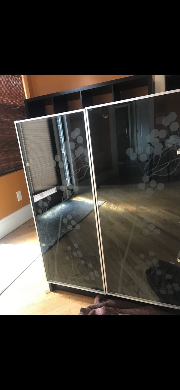 Double sided glass cabinet doors/ 2 wood shelves inside