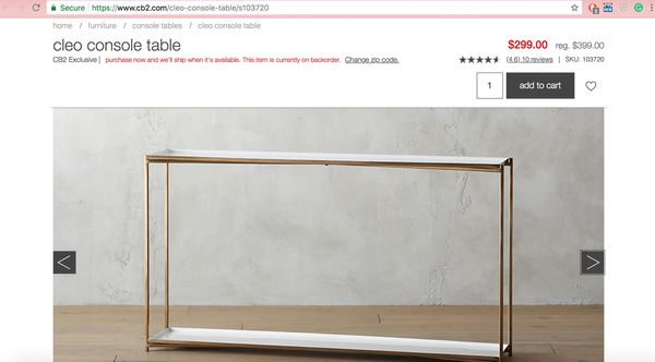 Cb2 Cleo Console Table For Sale In New York Ny Offerup