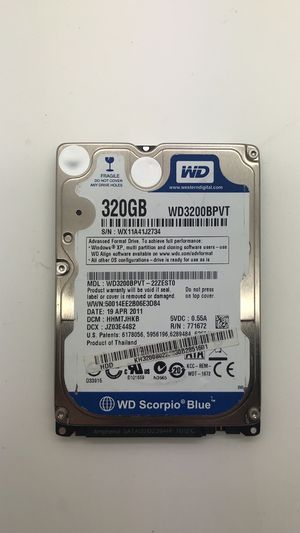 Western Digital WD3200BPVT-22ZEST0 - 320GB Hard Disk Drive HDD with bracket for Sale in North Miami Beach, FL