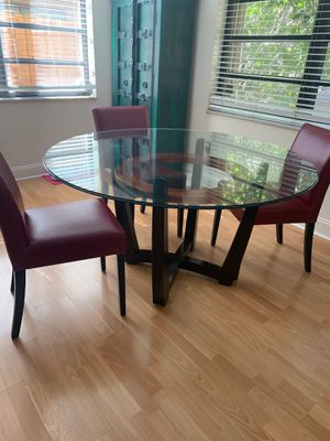 glass table, wood & bronze base $200 for Sale in Miami, FL