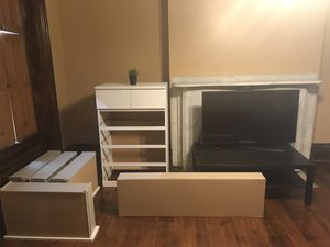 BUNDLE DEAL , THE MALM WHITE 6 DRAWER, SAMSUNG HD TV, COFFEE TABLE , CONSOL BOXED TABLE. NEEDS TO BE GONE BY MONDAY!!! for Sale in Pittsburgh, PA