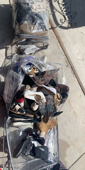 30 pairs of 6 & 6 1/2 woman's shoes boots sands heels shoes mostly vans for Sale in Somerton, AZ
