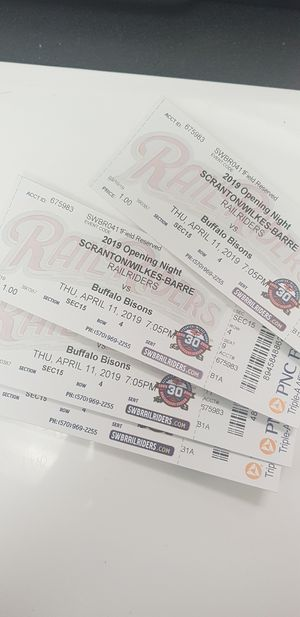 Four Railriders opening day tickets! for Sale in Honesdale, PA