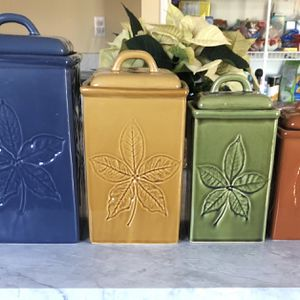 Lillian Vernon Ceramic Leaf Print Containers for Sale in Springfield, NJ