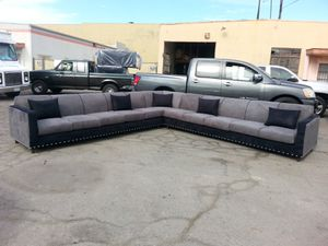 NEW CHARCOAL MICROFIBER SECTIONAL COUCHES for Sale in Ontario, CA