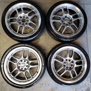 17 5 Spoke Silver wheels 4 lug universal for Sale in Chino, CA