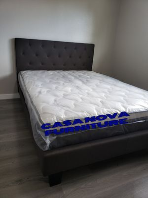 BRAND NEW BED FRAME QUEEN COMES IN BOX 📢📢📢📢📢AVAILABLE FOR SAMEDAY DELIVERY OR PICK UP 📢📢📢📢📢BAMBOO MATTRESS INCLUDED 📢📢📢📢 for Sale in Compton, CA
