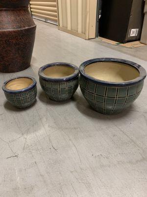 3 Ceramic Plant Pots Set for Sale in Las Vegas, NV