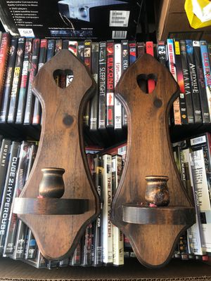 2 solid wood vintage wall sconces for Sale in Murrieta, CA