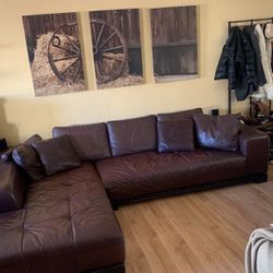 Z Gallery Sectional Brown Leather Couch. Moving has To Go! for Sale in Huntington Beach,  CA