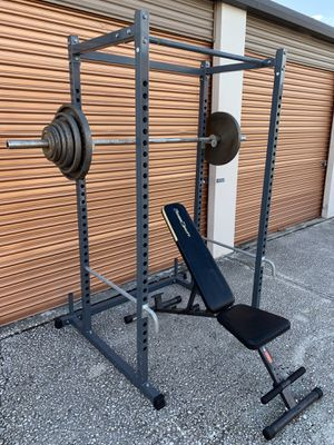 Squat Rack, Bench, 300 Lb Olympic Weight Set for Sale in Davenport, FL