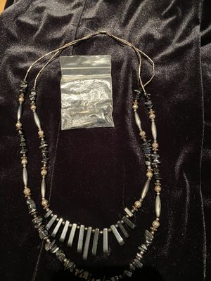 Mexican silver/black beaded necklace- earrings from Mexico $35 for Sale in Fresno, CA