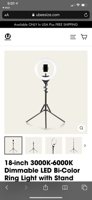 18-inch 3000K-6000K Dimmable LED Bi-Color Ring Light with Stand and Phone Holder for Sale in Los Angeles, CA