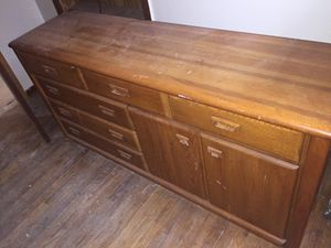 Solid wood bedroom set. 4 pieces. Excuse the rehab dust. for Sale in Chicago, IL