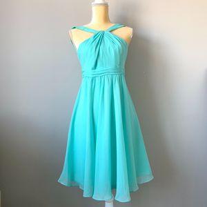 David's Bridal Aqua Chiffon Dress Size 8 for Sale in Smyrna, TN