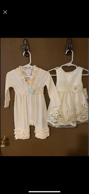 NWT Little girls 12 month outfits - dress and romper for Sale in Mount Horeb, WI