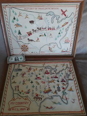 All for $40 2 large mid centuryish needlepoint folk art maps for Sale in Tacoma, WA