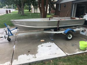Sea King Aluminum Boat with Motor and Trailer for Sale in Lakewood, CO