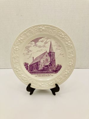 Vintage 1952 Homer Laughlin Ceramic Decorative Plate Of St. John's Lutheran Church 1852 Staten Island, New York for Sale in Spring Hill, FL