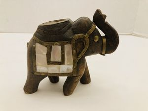 Vintage Rare Wooden Brass Mother of Pearl Elephant Indian Tealight Holder for Sale in Spring Hill, FL