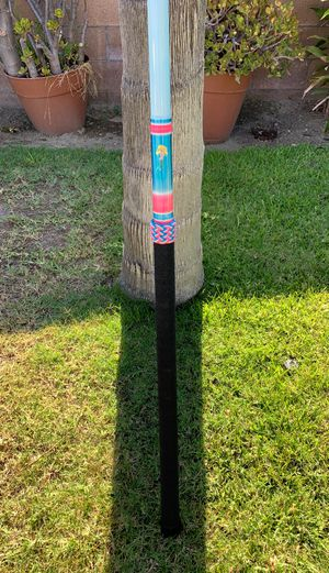 Super seeker rod white tiger ulua with Fuji sic guides cord handle pink and blue Turks head for Sale in Long Beach, CA