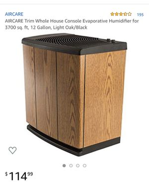 AIRCARE Trim Whole House Console Evaporative Humidifier for 3700 sq. ft, 12 Gallon, Light Oak/Black for Sale in Huntington Park, CA