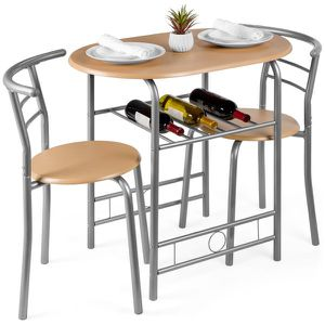 3-Piece Wooden Dining Room Round Table & Chairs Set w/ Steel Frame, Built-In Wine Rack - Natural for Sale in Dublin, OH