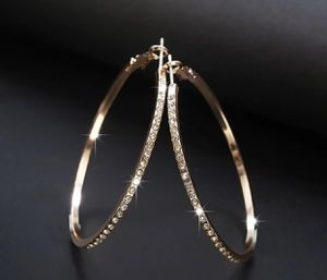 """LARGE ROUND GOLD CRYSTAL CLASSIC HOOP EARRINGS 2"""" for Sale in Macomb, MI"""
