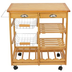 Rolling Wood Kitchen Island Trolley Cart Dining Storage Drawers Stand Durable for Sale in Los Angeles, CA