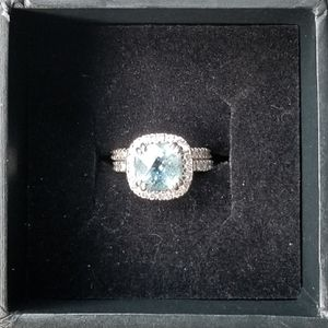 3 ct. Aquamarine and Diamond Engagement Ring and Wedding Band Set for Sale in Niles, IL