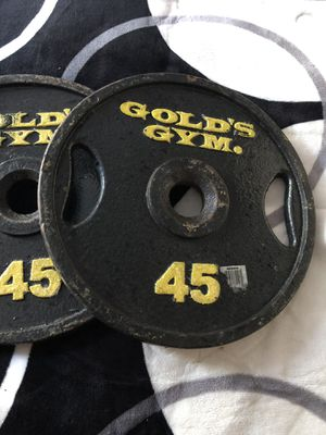 2 45lbs gold's gym Olympic weights for Sale in Mableton, GA
