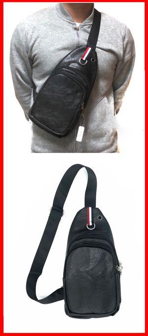 NEW! Faux leather CrossBody Side Bag Backpack messenger cell phone tablet holder wallet biking hiking school bag work gym bag sling chest bag for Sale in Carson, CA
