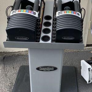 Urethane Powerblock Dumbbells (5-90 Lbs) + Stand + EZ Curl Bar for Sale in Edmonds, WA