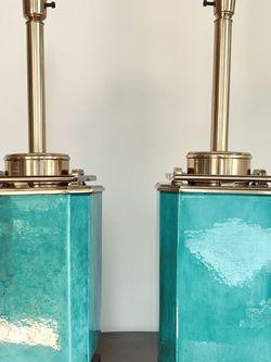Pair Emerald Ceramic Mid-century Stiffel Lamps for Sale in Dallas,  TX