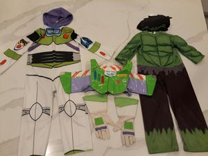 Disney Toy Story Buzz Lightyear Costume, Wings and Gloves & Marvel Avengers Hulk Costume (Both Extra Small XS) - take all for $8 for Sale in Etiwanda, CA