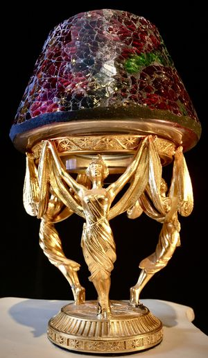 Beautiful bronze cast sculpture glass art shade candle holder H7.5xW6 inch for Sale in Chandler, AZ