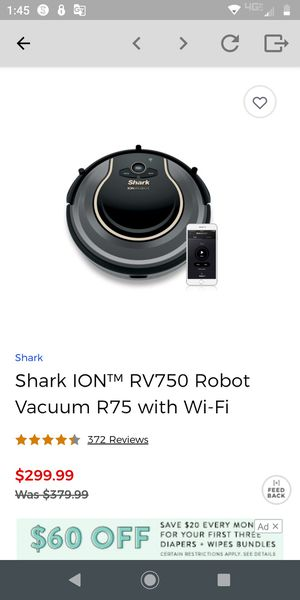 Shark ion robot vacuum for Sale in Apple Valley, CA