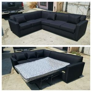 NEW 7X9FT DOMINO BLACK FABRIC SECTIONAL WITH SLEEPER COUCHES for Sale in San Bernardino, CA