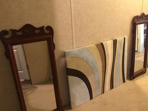 2 wall mirrors and Suede wall Decor for Sale in San Antonio, TX