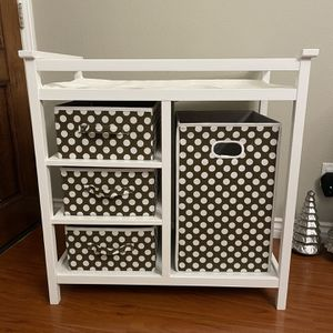 Modern Baby Changing Table w/ Laundry Hamper, 3 Storage Baskets, and Pad for Sale in Hacienda Heights, CA