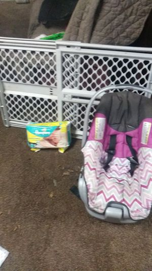 Baby gate car seat pampers 1 for Sale in Cleveland, OH
