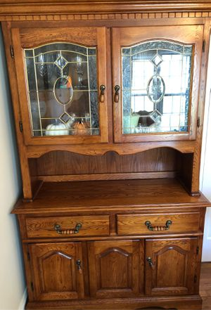 Dining Room Table 6 chairs, leaf and curio cabinet. All reasonable offers will be considered .Must sell now! for Sale in Piscataway, NJ
