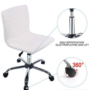 Armless Office Chair, Swivel Leather Home Office Computer Desk Chair for Office Conference Study Room Low-Back Task Executive Chair (White) for Sale in City of Industry, CA