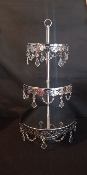 Beautiful 3 tier silver metal cupcake and treat stand. Pick up or shipping available for Sale in West Puente Valley, CA
