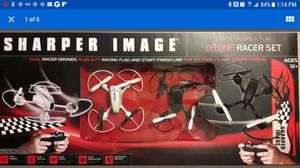 SHARPER IMAGE dual Drone Racer Set w/ flag, 2.4ghz transmitters for Sale in Silver Spring, MD