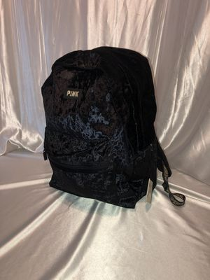 Victoria's Secret PINK Black velvet campus backpack NWT for Sale in Shelby charter Township, MI