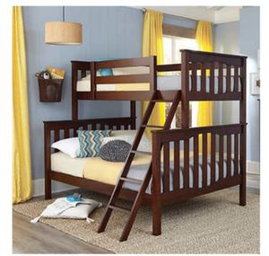 Wood bunk bed -- Twin over Full size for Sale in Monroe, WA