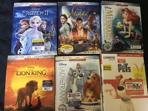 Brand new wrapped Disney blu-rays including frozen 2, new Aladdin for Sale in Houston, TX
