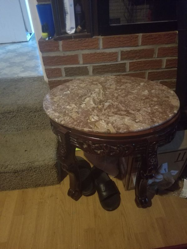 Wood, Coffee table and 2 end tables with real granite top. Very beautiful. 300 obo